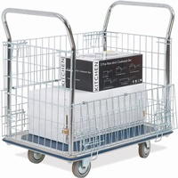 Platform Trolley c/w Chrome Mesh Sides - 300Kg Capacity: click to enlarge