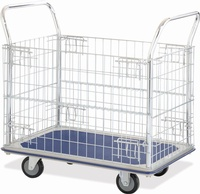 Platform Trolley c/w Chrome Mesh Sides - 220Kg Capacity: click to enlarge
