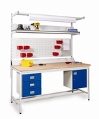 Square Tube Workbenches - Solid Beech Worktop