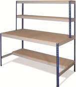 Rivet Workstations c/w T-Bar/Half Undershelf - Chipboard Top