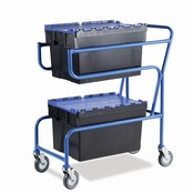 Topstore - Double Container Trolley with Coloured Lid Containers